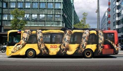 bus advertising a zoo